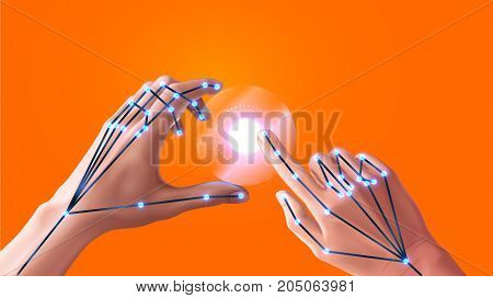 Gesture recognition in virtual and augmented reality. Hand tracking of virtual reality. Interface vr headsets. Sensors 3D scanning space for detecting the position of the fingers of the user. VECTOR
