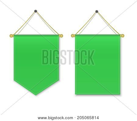 Empty 3D Pennant Blank. Green pennant hanging. Poster mockup