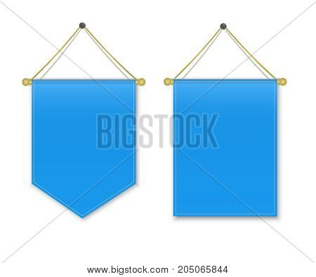 Empty 3D Pennant Blank. Blue pennant hanging. Poster mockup