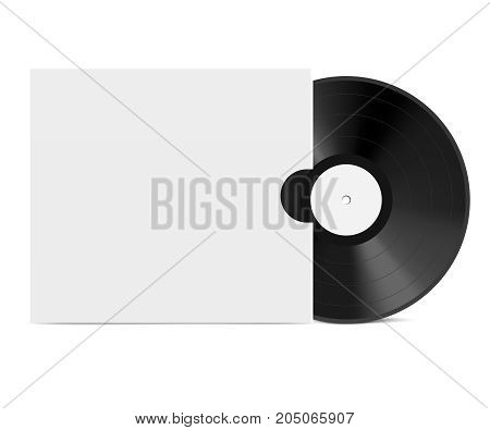 Realistic Vinyl Record with Cover Mockup. Vinyl disc mock up
