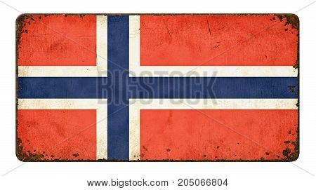 Vintage Metal Sign On A White Background - Flag Of Norway