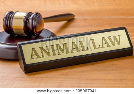 A gavel and a name plate with the engraving Animal law