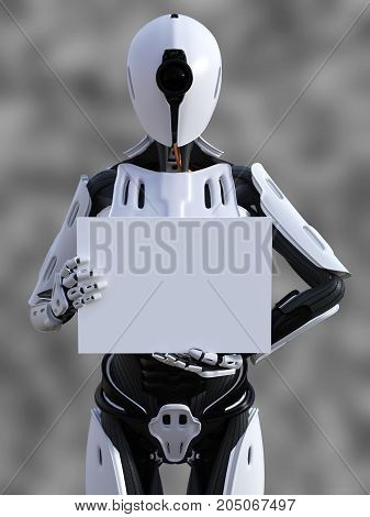 3D rendering of a female android robot holding a blank sign in its hand against a gray background.