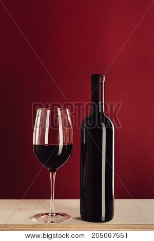Red Wine In Glass And Bottle