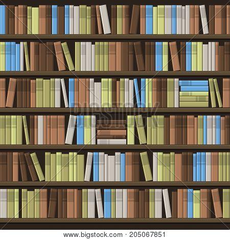 Library Book Shelf Seamless Background. Vector illustration