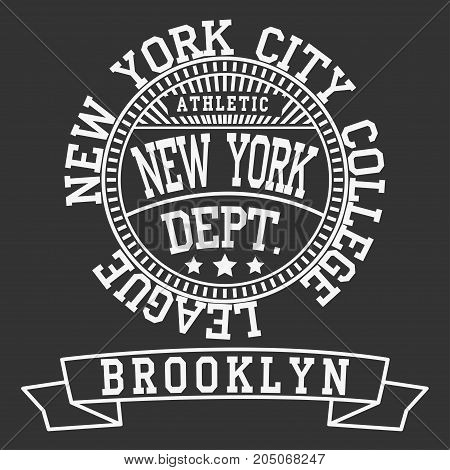 New york Brooklyn sport typography t-shirt. New york College fashion design print for t-shirt. New york sports Graphics, New york T-shirt Printing Design, original wear, Brooklyn sportswear apparel vector