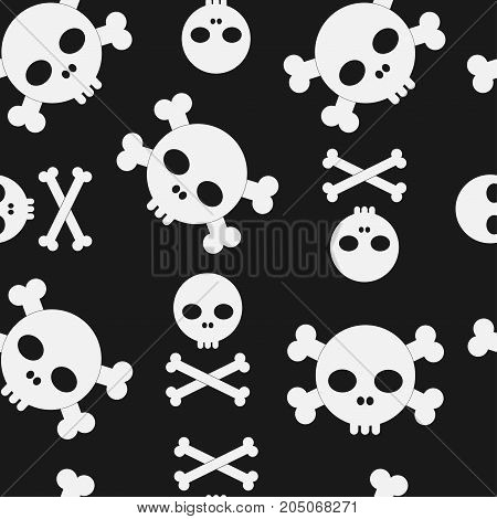 Skull and crossbones seamless pattern. Halloween background pirate texture - vector