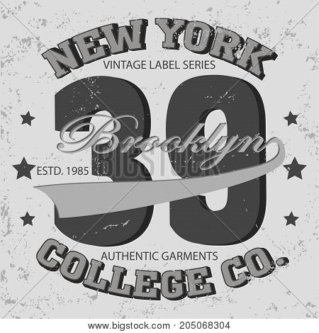 New york Brooklyn sport typography t-shirt. New york College fashion design print for t-shirt - vector