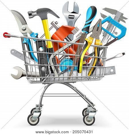 Vector Supermarket Trolley with Hand Tools isolated on white background