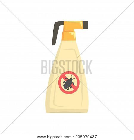 Sprayer bottle of insecticide, extermination of pest insects cartoon vector illustration isolated on a white background