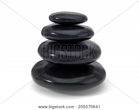 spa stones stack. isolated on white, 3d illustration