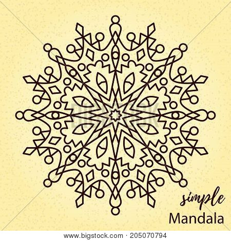 Oriental coloring page mandala vector illustration isolated