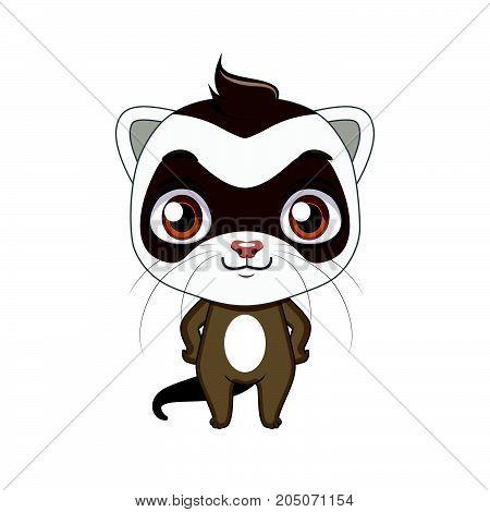 Cute Stylized Cartoon Ferret Illustration ( For Fun Educational Purposes, Illustrations Etc. )