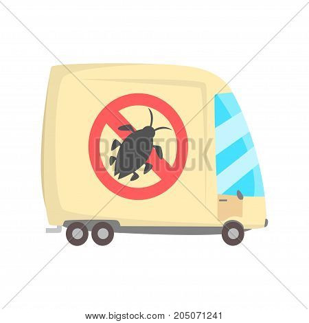 Pest controll service van cartoon vector illustration isolated on a white background