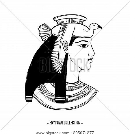 Hand Drawn Vector Illustration - Egyptian Collection. The Gods Of Ancient Egypt, Goddess Isis. Perfe