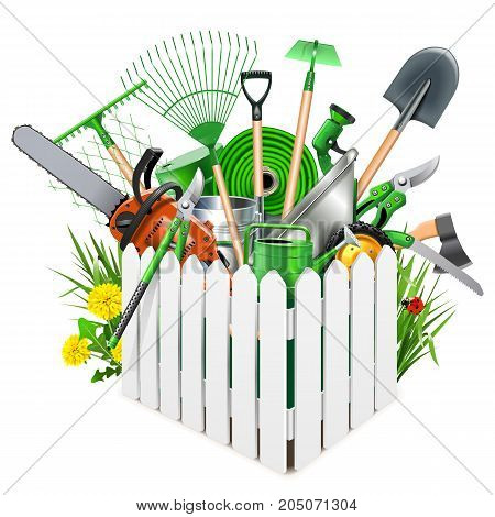 Vector White Wooden Fence with Garden Accessories isolated on white background