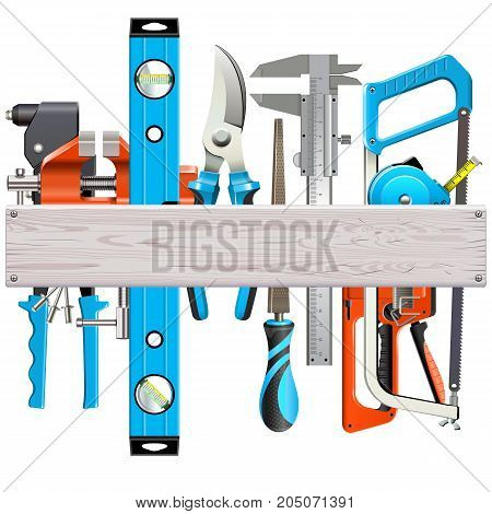 Vector Wooden Plank with Hand Tools isolated on white background