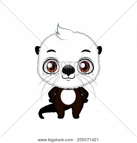 Cute Stylized Cartoon Sea Otter Illustration ( For Fun Educational Purposes, Illustrations Etc. )