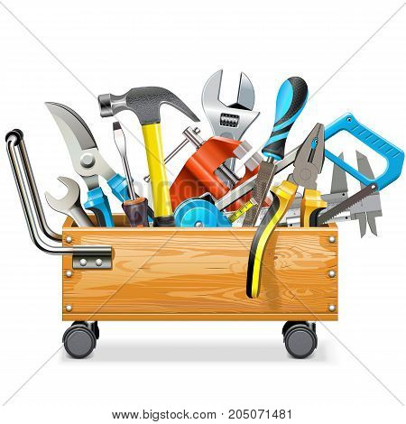 Vector Wooden Toolbox Trolley with Tools isolated on white background
