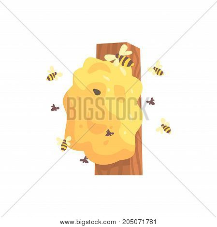 Beehive, hornets or wasp nest cartoon vector illustration isolated on a white background