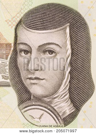 Juana de Asbaje portrait from Mexican money