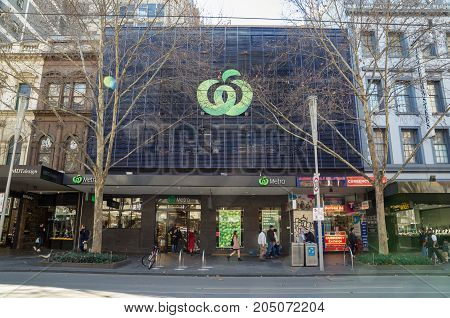 Melbourne Australia - July 29 2017: Woolworths is a major Australian supermarket chain with more than 900 stores. This store is in Swanston Street in Melbourne.