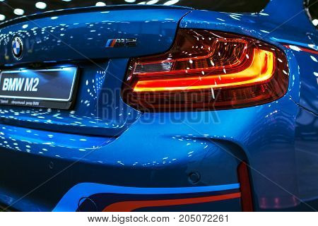 Sankt-Petersburg Russia July 21 2017: Back view of a BMW M2 sports car. M Performance Edition. Car exterior details. Photo Taken at Royal Auto Show July 21