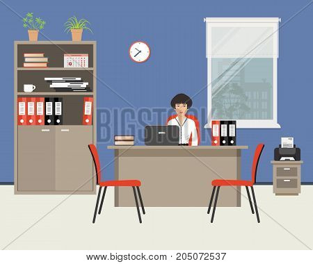 Web banner of an office worker. The young woman is an employee at work. There is furniture in beige color, red chairs and printer on a window background in the picture. Vector flat illustration