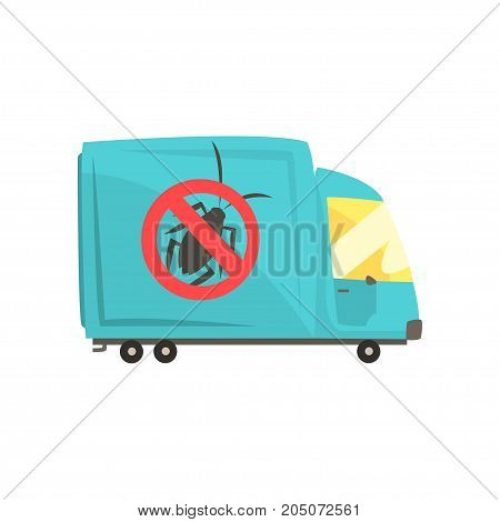 Blue exterminator truck, pest control service cartoon vector illustration isolated on a white background