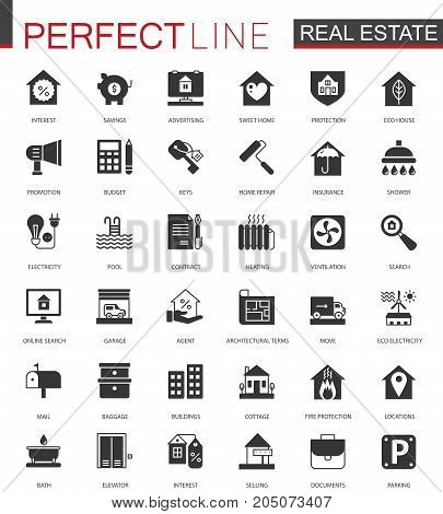 Black classic Real estate icons set isolated