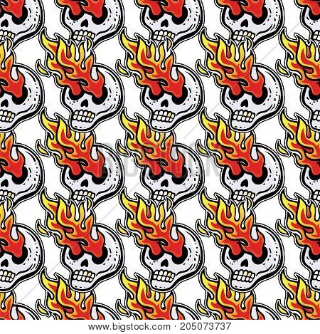 Crazy zombie fire rock theme with psychedelic skull with eyes of fire vector seamless vintage pattern in cartoon 90s party style. For wallpaper, pattern fills, web page background, surface textures.