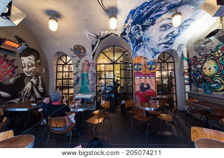 Melbourne Australia - July 29 2017: Bar Ampere is a funky laneway bar on Russell Place. Melbourne is known for its laneway culture.
