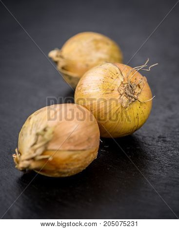 White Onions On A Slate Slab, Selective Focus