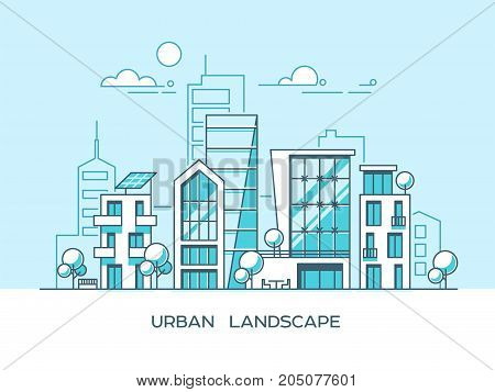 Green energy and eco friendly city. Modern architecture, buildings, skyscrapers. Flat vector illustration style.