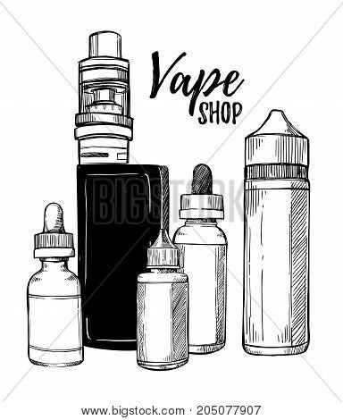 Hand Drawn Vector Illustrations. Vape Collection With Bottles And E-sigarettes. Design Elements In S