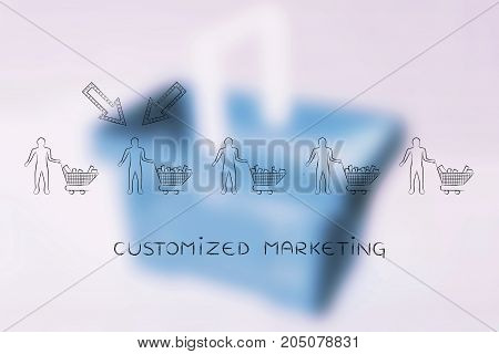 Group Of Customers And One Of Them With Arrows, Customized Marketing