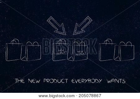 New Product Shopping Bags With Arrows And Text Among Other Plain Ones