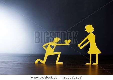 Man Making Proposal Of Marriage To His Sweetheart