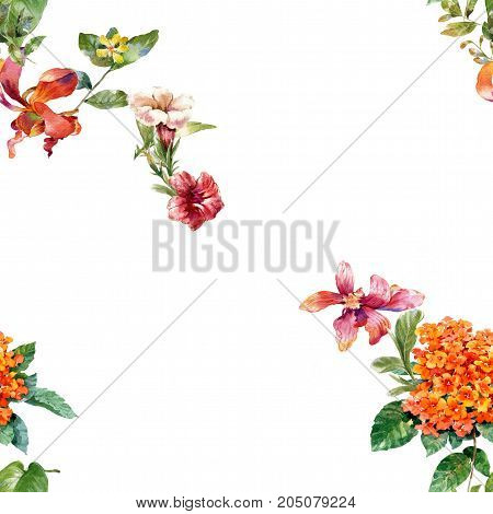 Watercolor painting of leaf and flowers pattern on white background