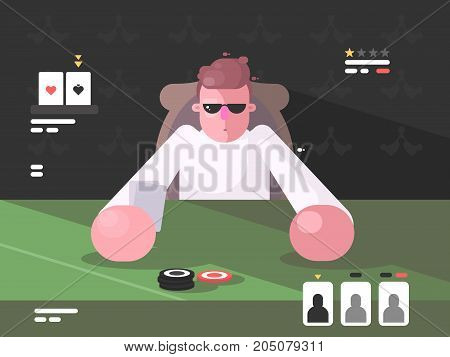 Player in cards with poker face. Table of gambling card games. Vector illustration