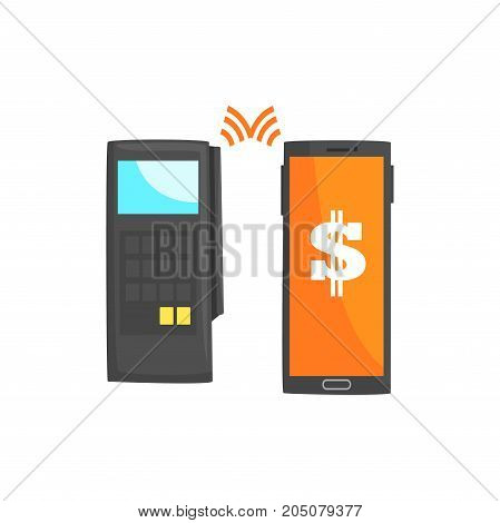 POS terminal confirming the payment using smartphone, online banking, NFC payment method  cartoon vector illustration isolated on a white background