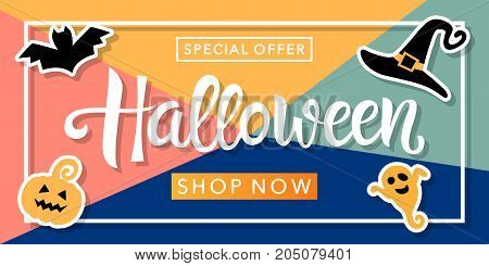 Halloween Sale banner with handwritten calligraphy text on trendy background. Holiday Discount promotion. Poster, card, flyer, label trendy design. Vector illustration