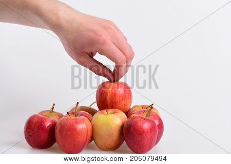 Apples On Light Grey Background. Apples In Bright Juicy Color