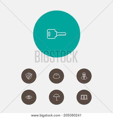 Collection Of Lock, Vision, Open And Other Elements.  Set Of 7 Procuring Outline Icons Set.