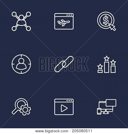 Collection Of Search, Columns, Stock Exchange And Other Elements.  Set Of 9 Engine Outline Icons Set.