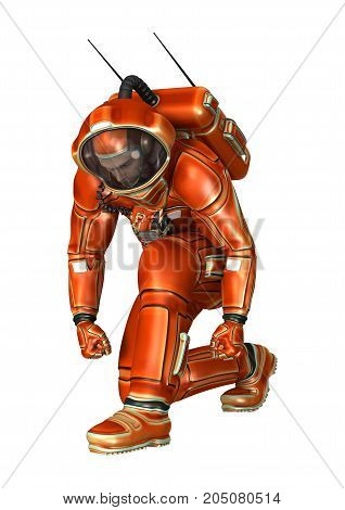3D Rendering Astronaut On White
