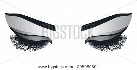 female eyes with long eyelashes on a white background