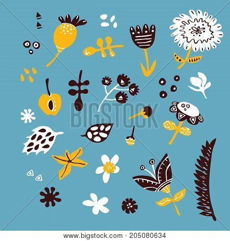 Set of vector doodle hand drawn ornate flowers and leaves for wallpapers, scrapbooking, web page backgrounds,textile, patches
