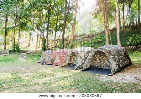 Tent camping in National park,Chiangmai,Thailand.Travel in summer season