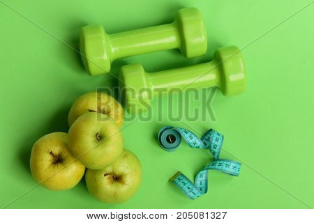 Tape Measure In Cyan Color By Barbells And Juicy Apples